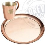 Copper platter, Rum Measure + 12 shot glasses